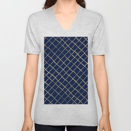 Elegant  abstract geometrical navy blue gold pattern Unisex V-Neck
