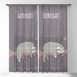 Sloth card - good night Sheer Curtain