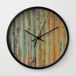 corrugated rusty metal fence paint texture Wall Clock