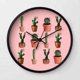 Various Cacti Pink Wall Clock