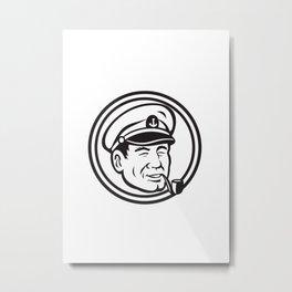 Sea Captain Pipe Smoke Circle Black and White Metal Print