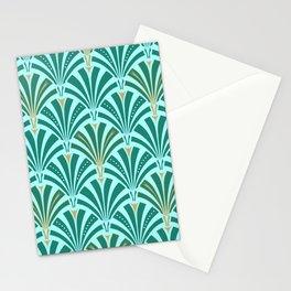 Art Deco Fan Pattern Turquoise on Aqua Stationery Cards