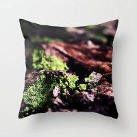 moss Throw Pillows featuring Moss by Sushibird