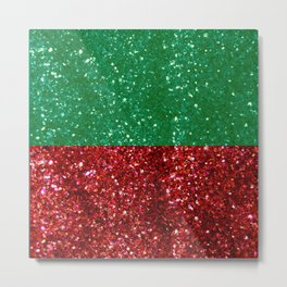 Red and Green Sparkles for Christmas Metal Print