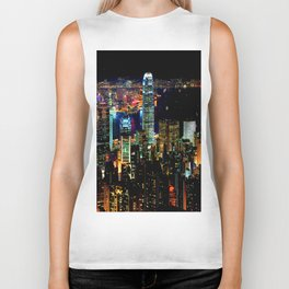 Hong Kong City Skyine Black Night Biker Tank