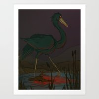 Wading in Red Art Print