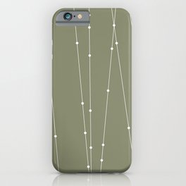 Contemporary Intersecting Vertical Lines in Sage Green iPhone Case