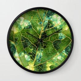Green Marble Leaf Wall Clock