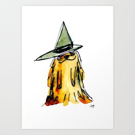 Little Fuzzy Dog with the Witch Hat Art Print