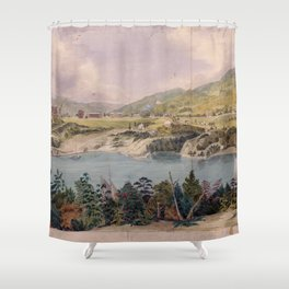 Panorama of West Point from Constitution Island by John Rubens Smith (c 1820) Shower Curtain