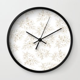 Shabby vintage pastel brown white elegant floral Wall Clock