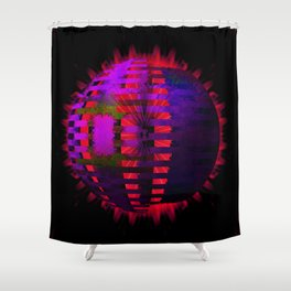 Purple Layered Star in Red Flames Shower Curtain
