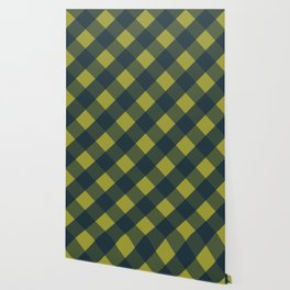navy chartreuse plaid Wallpaper
