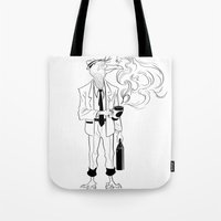 birdman Tote Bags featuring Birdman Coffee by Brendon  Ink