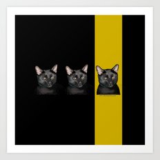Three Black Cats with Black and Yellow Background Art Print
