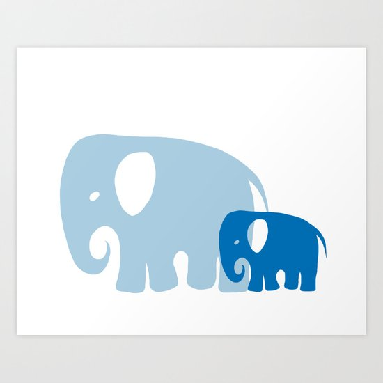 Mommy and child elephant Art Print