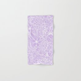 Modern trendy white floral lace hand drawn pattern on pastel lavender Hand & Bath Towel
