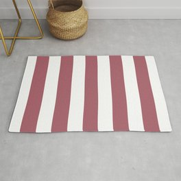 Deep puce purple - solid color - white vertical lines pattern Rug