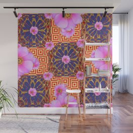 Delicate French Style Red Fuchsia Pink Wild Rose Gold Jewelry Abstract Wall Mural