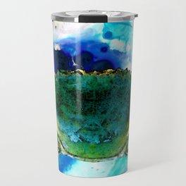Blue Crab - Abstract Seafood Painting Travel Mug