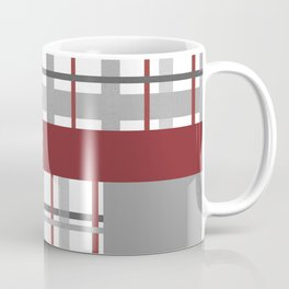 Grey Red Burgundy Checkered Gingham Patchwork Color Canvas Coffee Mug