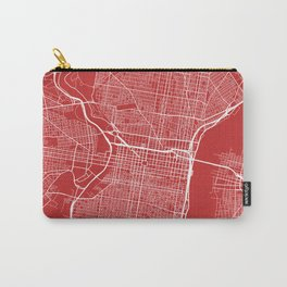 Philadelphia Map, USA - Red Carry-All Pouch