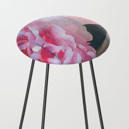 Pretty in Pink Peony Counter Stool