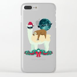 Llama Sloth Christmas Santa's Sleigh Silhouette In Front Of The Moon Clear iPhone Case