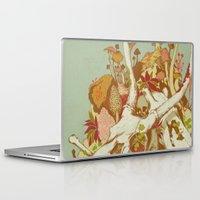 skulls Laptop & iPad Skins featuring skulls in spring by Teagan White