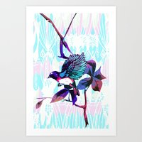 birdy Art Prints featuring Birdy by Cata