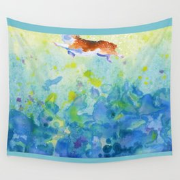Corgi swimmer in sunlight and sea waves Wall Tapestry