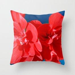 Red garden flowers Throw Pillow