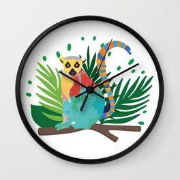 Lemur In The Jungle Wall Clock