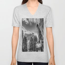 Scots American Memorial And Edinburgh Castle Unisex V-Neck
