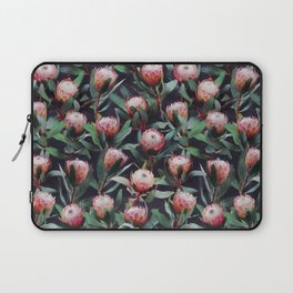 Evening Proteas - Pink on Charcoal Laptop Sleeve