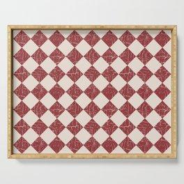Farmhouse Checkerboard in Brick Red on Cream Serving Tray