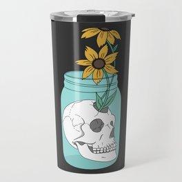 Skull in Jar with Flowers Travel Mug