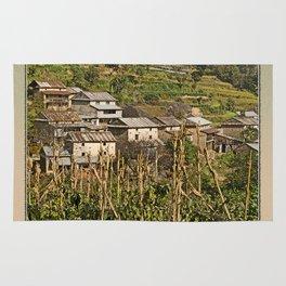 HIMALAYAN FOOTHILLS VILLAGE NEAR BHOTECHAUR NEPAL Rug