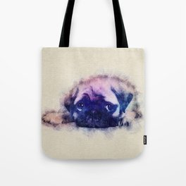 Pug puppy Sketch  Digital Art Tote Bag
