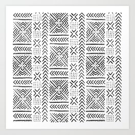 Line Mud Cloth Art Print