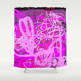 Heart Pink Magenta Purple Abstract Shower Curtain