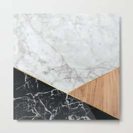 Geometric White Marble - Black Granite & Wood #711 Metal Print