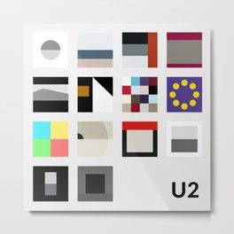 Minimalist U2's History - Grey Metal Print
