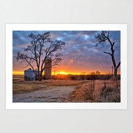 Grain Bin Sunset 3 Art Print