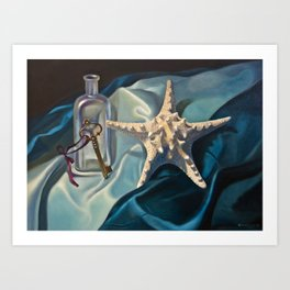 Realistic still life with a starfish, key and bottle Art Print