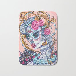 Pink Victorian Queen of Hearts wearing roses in Sugar Skull Make up for Day of the Dead Festival Bath Mat