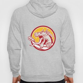 Chinese Red Dragon Head Growling Circle Retro Hoody