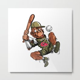 Baseball Monkey - Teak Metal Print