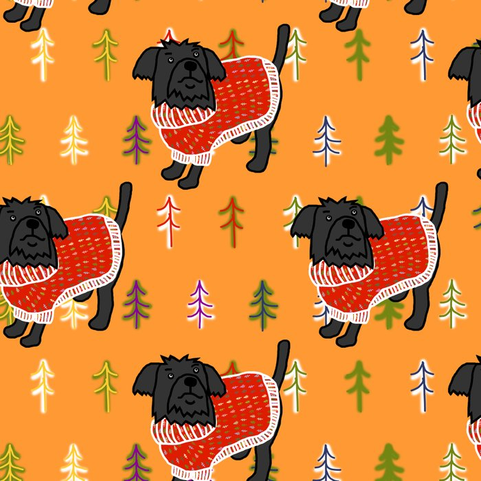 Cute dog in a Christmas tree sweater Leggings