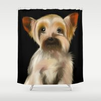 yorkie Shower Curtains featuring Yorkie on Black by barefoot art online